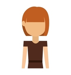 half body woman with dress and short hair redhead vector image
