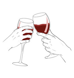 Hand clink glass of wine vector