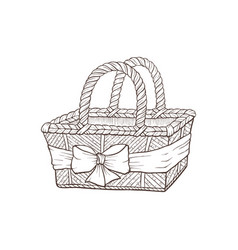 hand drawn basket vector image