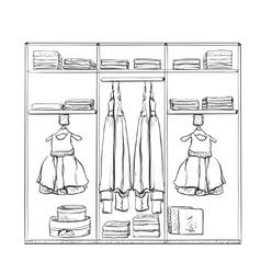 Hand drawn wardrobe sketch Room interior with vector
