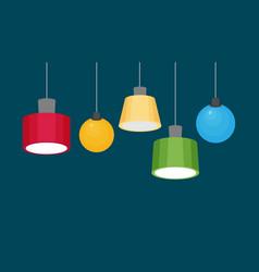 Hanging lamps set flat vector
