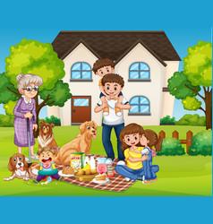 Happy family picnic at yard vector