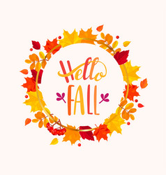 Hello fall lettering in frame from autumn leaves vector