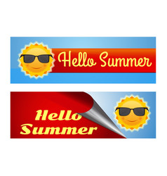 hello summer lettering colorful banners set vector image
