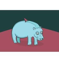 Hippo with bird on back vector