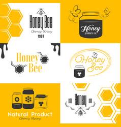 honey vintage logo set vector image