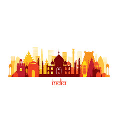 India architecture landmarks skyline shape vector