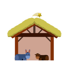 Isolated wooden manger vector