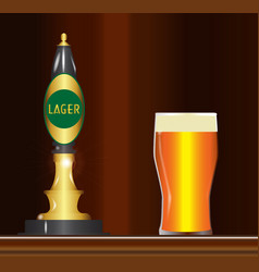 Lager on the bar vector