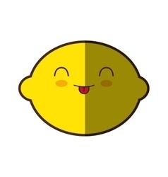 Lemon fresh fruit kawaii style isolated icon vector