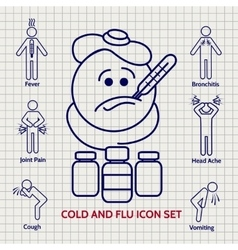 Line influenza icons set vector