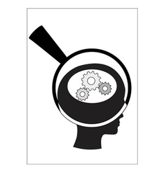 Man and thinking and robot mechanisms and gears vector image