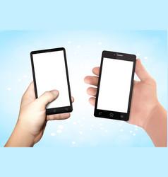man hands holding smartphone vector image