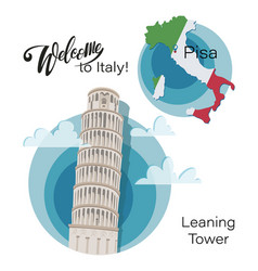 Map italy pisa leaning tower set vector