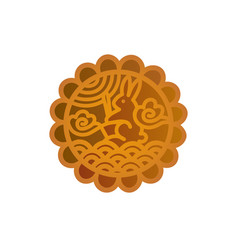 Mooncake icon chinese mid-autumn festival symbol vector