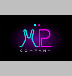 neon lights alphabet xp x p letter logo icon vector image