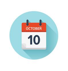 October 10 flat daily calendar icon date vector