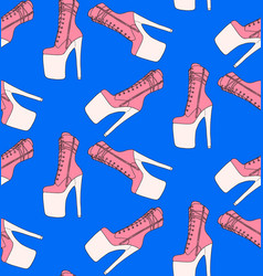 Pole dancing pattern exotic high heels boots blue vector