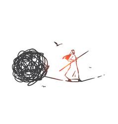 Problem solving psychotherapy concept sketch vector