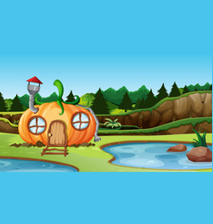 pumpkin house in nature landscape vector image