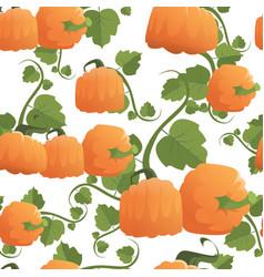 pumpkin seamless pattern background autumn harvest vector image