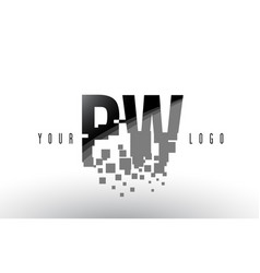 Pw p w pixel letter logo with digital shattered vector