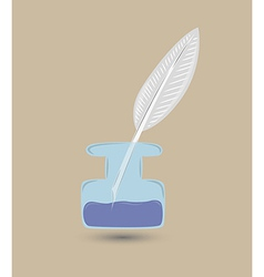 quill and inkwell vector image