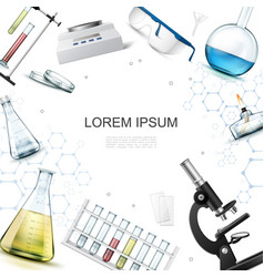 realistic chemical laboratory template vector image