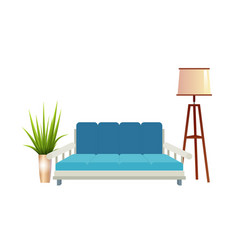 realistic red sofa with floor lamp and flowerpot vector image