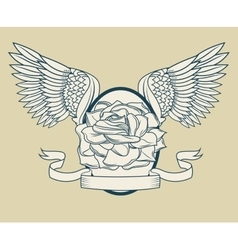 Rose with wings tattoo art design vector