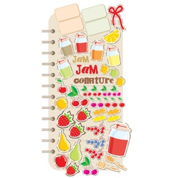 Scrapbook elements with fruit and jam vector