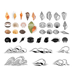 sea icons collection vector image