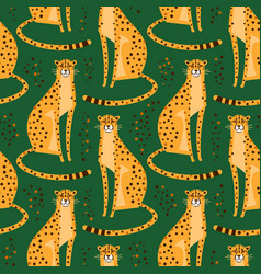 seamless pattern with cheetahs leopards repeated vector image
