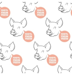 Seamless Pattern with pig vector