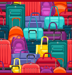 seamless pattern with travel suitcases and bags vector image