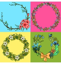 Set of four floral cartoon wreathes vector image