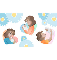 set of young mothers with baby in the hand vector image
