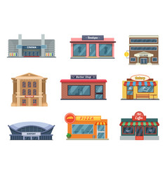 Shops and municipal buildings mini stores vector