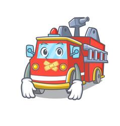 silent fire truck mascot cartoon vector image