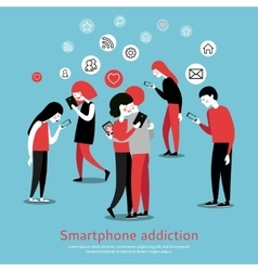 Smartphone internet addiction awareness flat vector