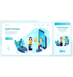 social network profile manager work people vector image