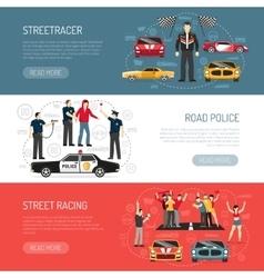 Street Racing Flat Horizontal Banners Set vector