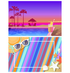 summer landscape and bright beach composition set vector image