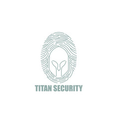 titan fingerprint tech security logo vector image