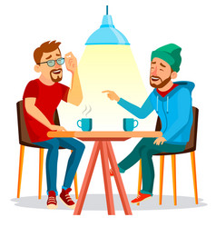 Two man friends drinking coffee best vector