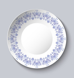 vintage porcelain plate on clear background vector image