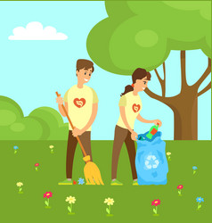 Volunteers collecting garbage and sweeping in park vector