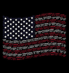 Waving usa flag stylization of labor day text vector