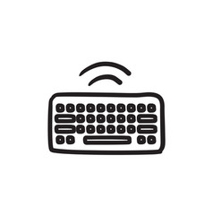 Wireless keyboard sketch icon vector
