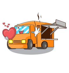 with heart food truck festival on shape cartoon vector image